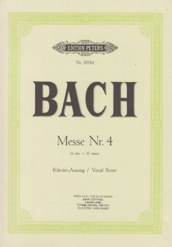 Image for Mass No.4 in G major, BWV 236 - Vocal Score