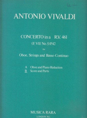 Image for Concerto in a minor, RV 461 for Oboe, Strings and Continuo - Full Score & Set of Parts