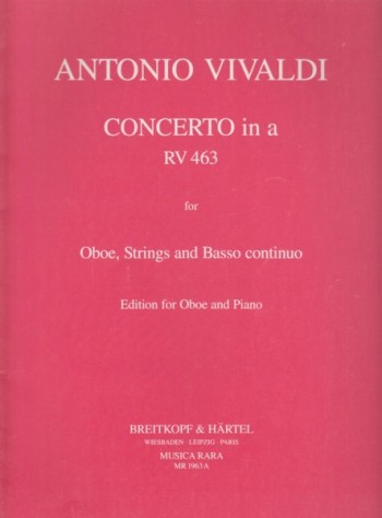 Image for Concerto in a minor for Oboe, Strings and Basso continuo, RV463 - Oboe & Piano