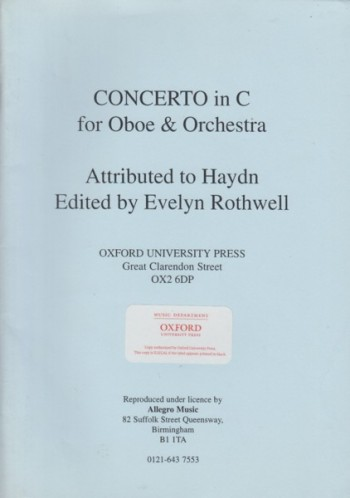 Image for Concerto in C major for Oboe & Orchestra - Oboe & Piano