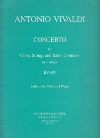 Image for Concerto for Oboe, Strings and Basso continuo in C major, RV 452 - Oboe & Piano