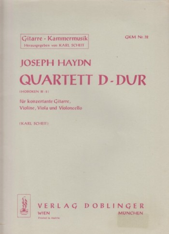 Image for Quartet in D major, Hob III:8 for Guitar, Violin, Viola and Cello - Full Score & Set of Parts