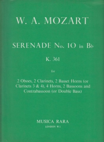 Image for Serenade No.10 in B flat major K361 - Set of Parts
