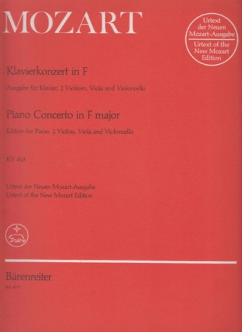 Image for Piano Concerto No.11 in F major, KV 413 - Edition for Piano and String Quartet