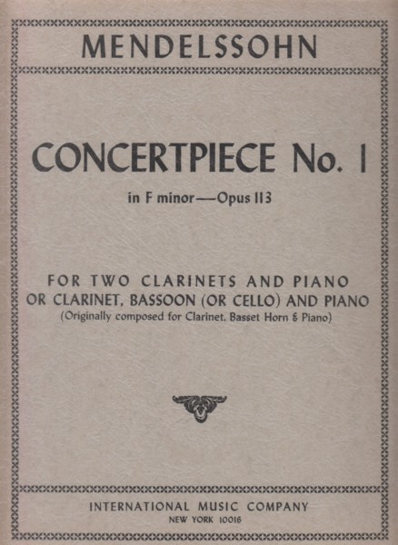Image for Concertpiece No.1 in f minor, Op.113 for 2 Clarinets and Piano or Clarinet, Bassoon (or Cello) and Piano