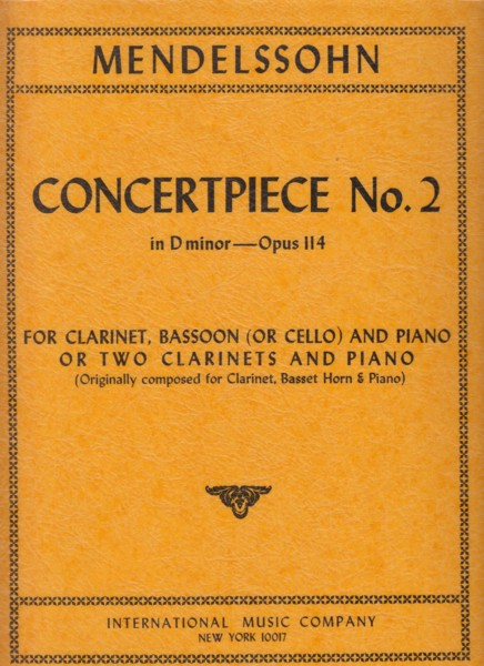Image for Concertpiece No.2 in d minor, Op.114 for 2 Clarinets and Piano or Clarinet, Bassoon (or Cello) and Piano