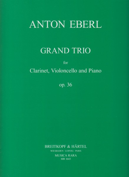 Image for Grand Trio for Clarinet, Cello and Piano, 0p.36 - Set of Parts