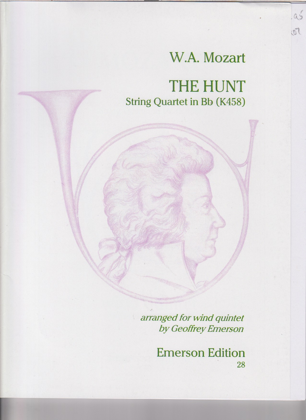 "Image for String Quartet in B flat major, K458 ""The Hunt"" arr. for Wind Quintet - Set of Parts"