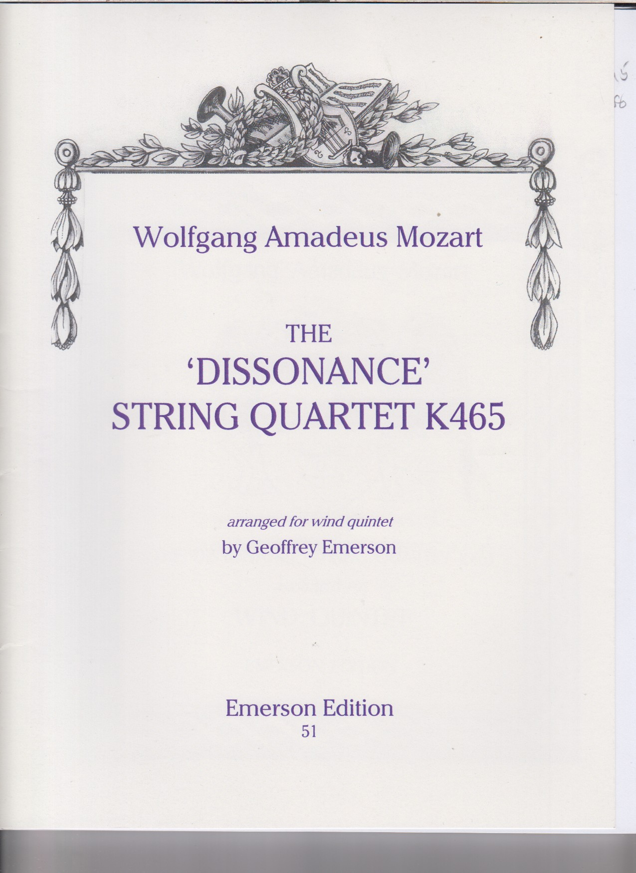 "Image for String Quartet, K465 ""Dissonance"" arr. for Wind Quintet - Set of Parts"