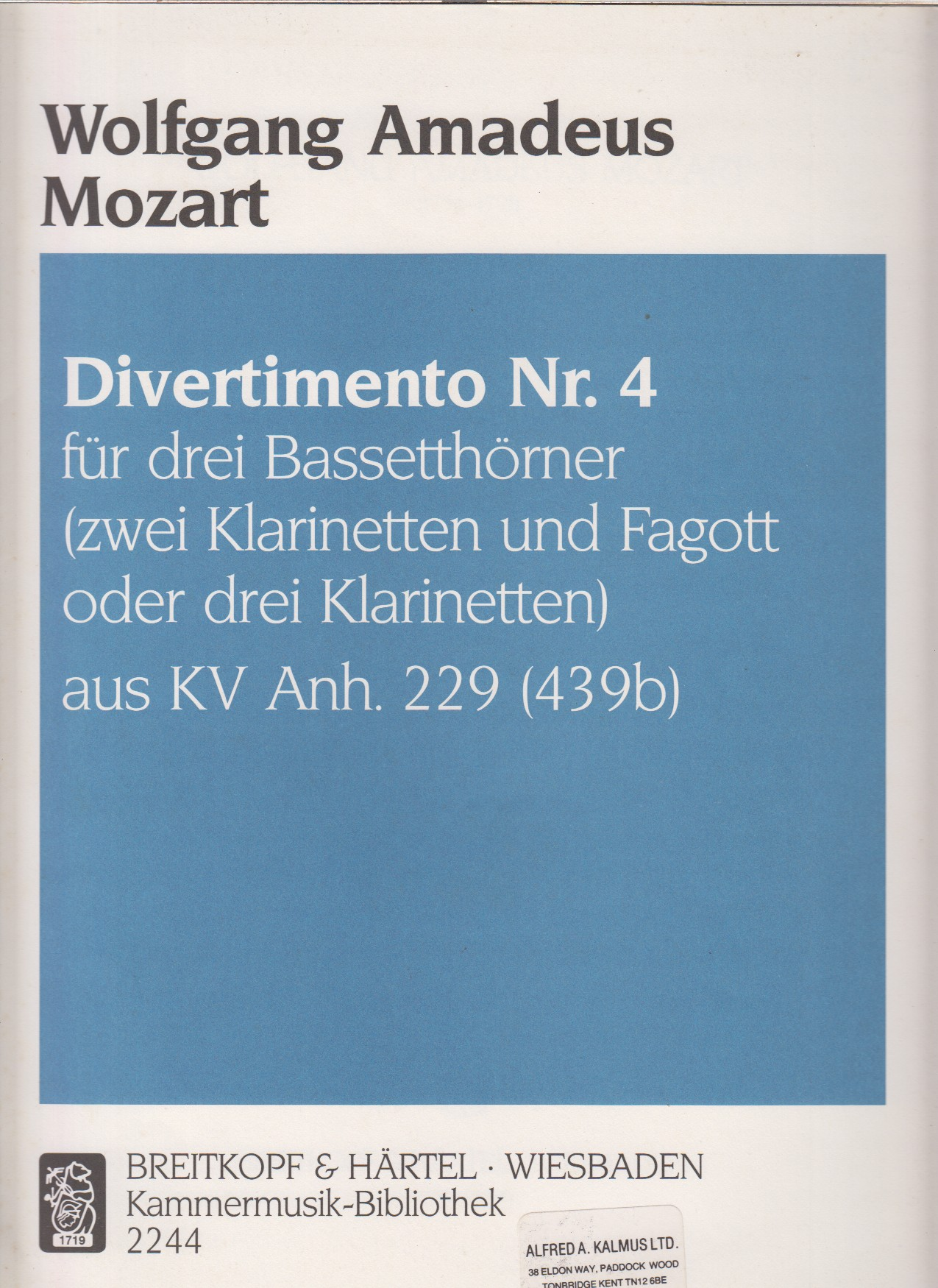 Image for Divertimento No.4,  K229 for 3 Basset Horns (or 3 Clarinets or 2 Clarinets & Bassoon) - Score & Parts