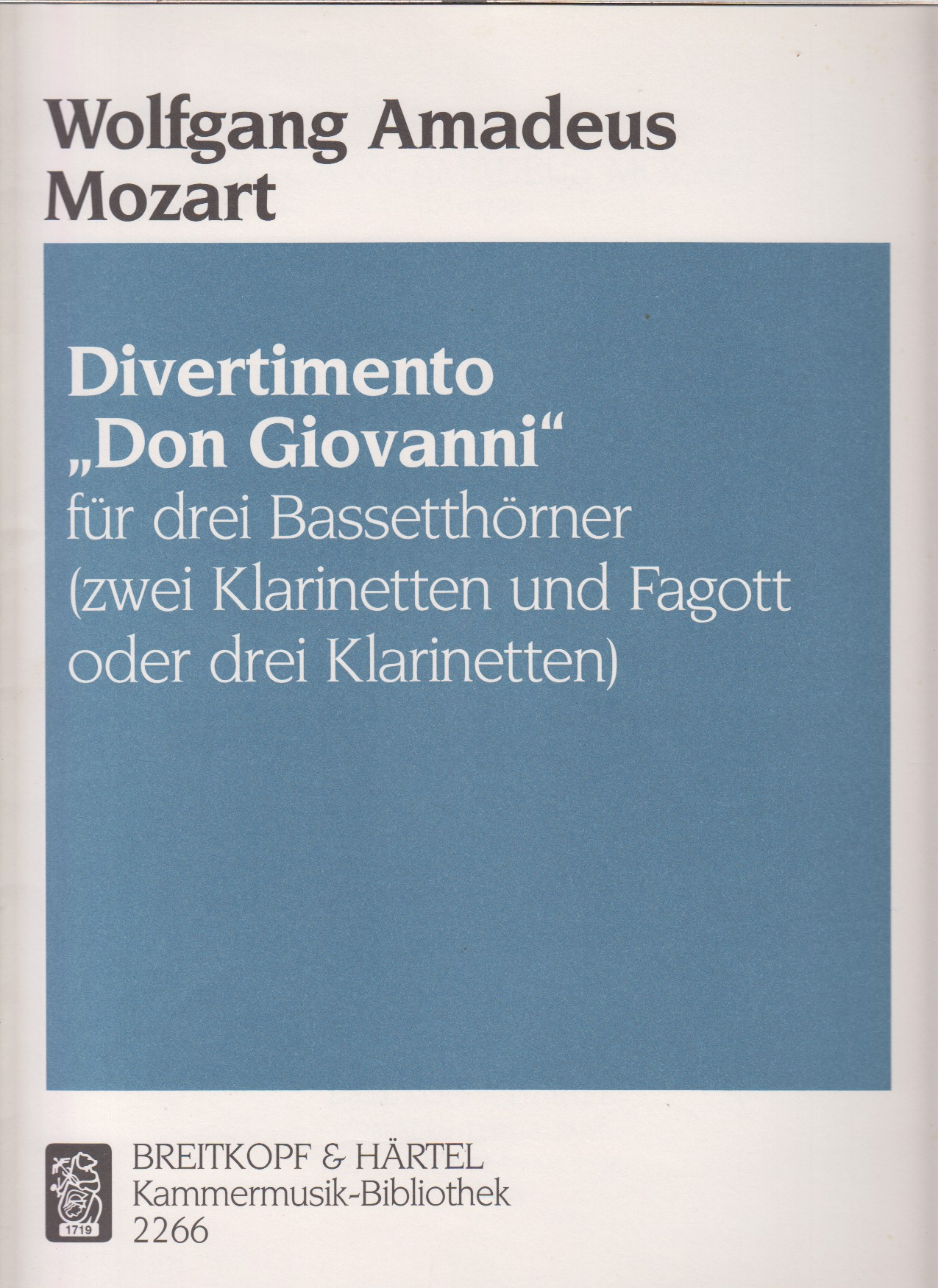 "Image for Divertimento ""Don Giovanni""  for 3 Basset Horns (or 3 Clarinets or 2 Clarinets & Bassoon) - Score & Parts"