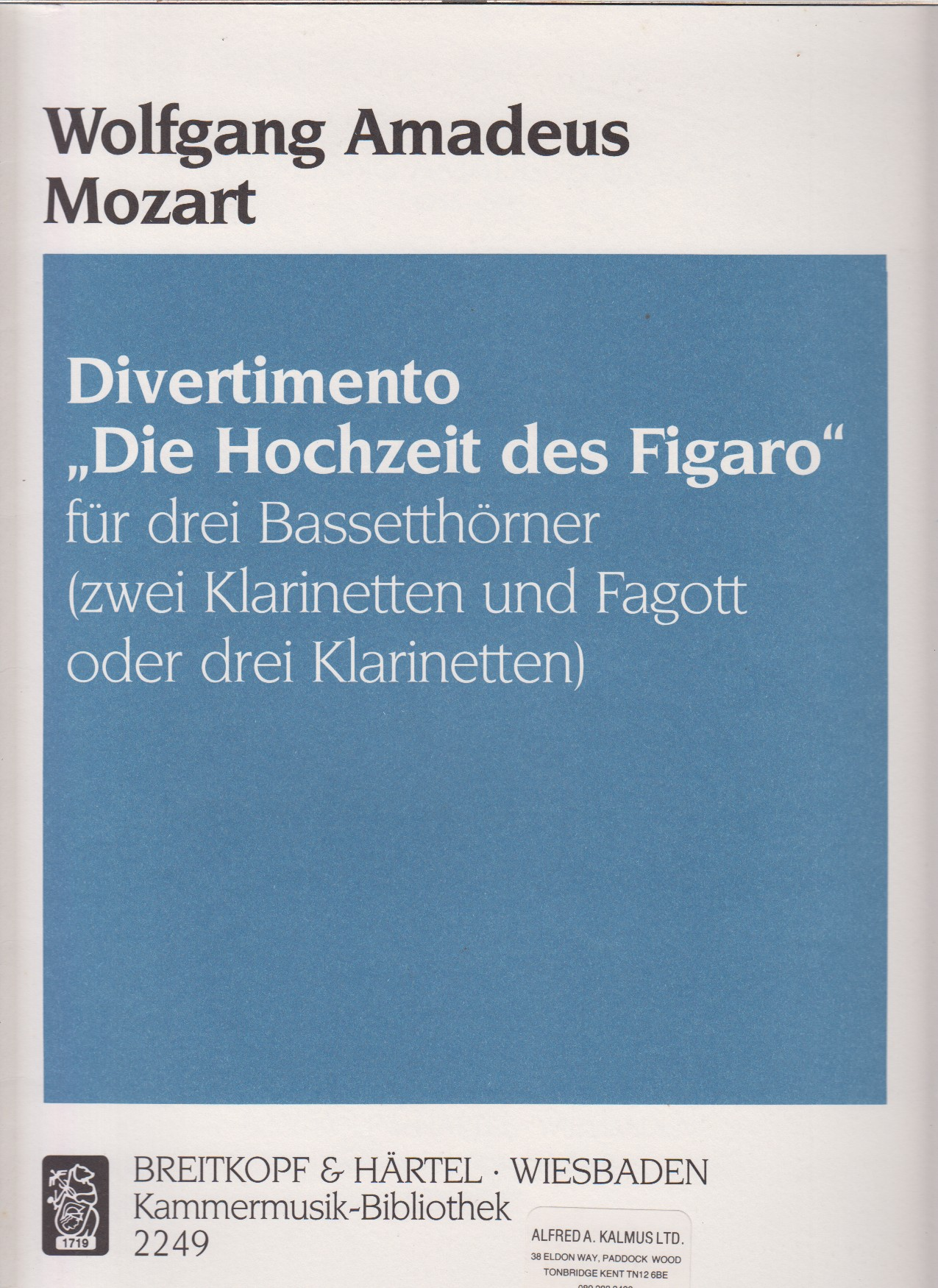 "Image for Divertimento ""Marriage of Figaro""  for 3 Basset Horns (or 3 Clarinets or 2 Clarinets & Bassoon) - Score & Parts"