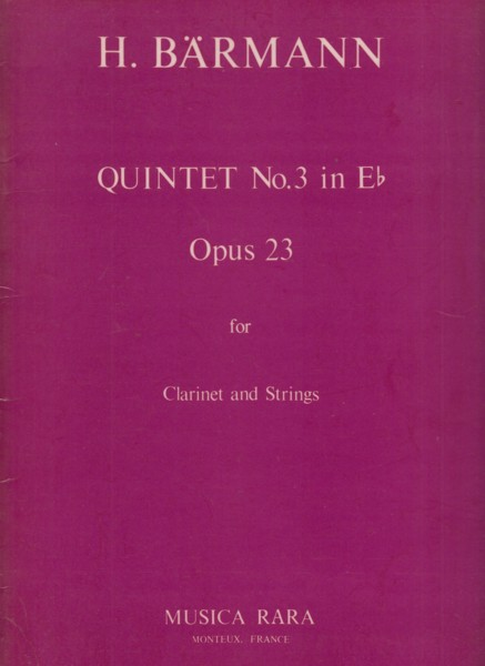 Image for Clarinet Quintet No.3 in E flat, Op.23 - Set of Parts