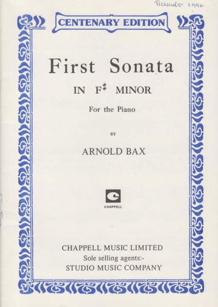 Image for First Sonata in f sharp minor for Piano