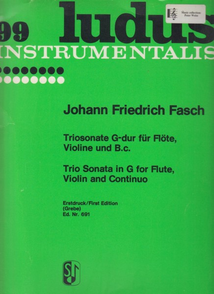 Image for Trio Sonata in G major for Flute, Violin and Continuo - Set of Parts