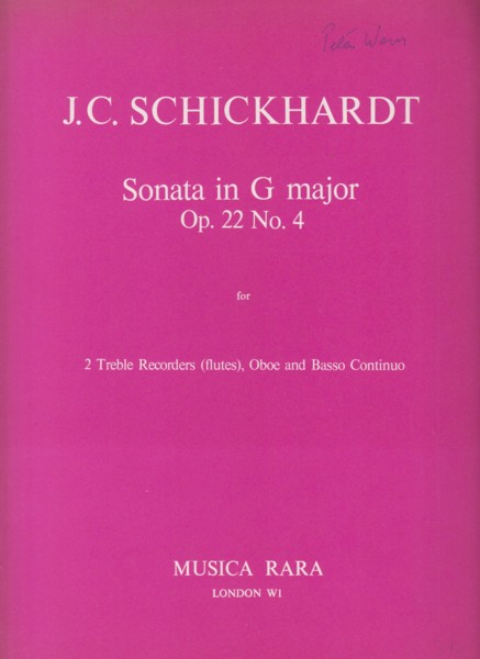 Image for Sonata in G major Op.22 No.4 for 2 Treble Recorders (Flutes), Oboe and Basso Continuo - Set of Parts