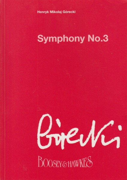 "Image for Symphony No.3  ""Symphony of Sorrowful Songs"", Op.36 - Study Score"