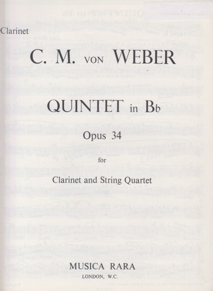 Image for Quintet in B flat for Clarinet and String Quartet - Set of Parts