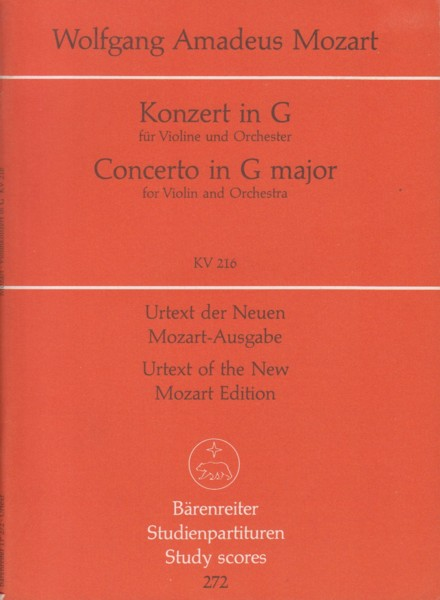 Image for Violin Concerto in G major, KV 216 - Study Score