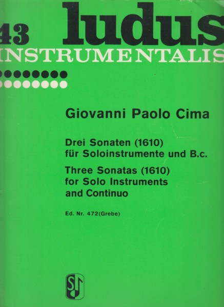 Image for Three Sonatas for Solo Instruments and Continuo (1610) - Set of Parts