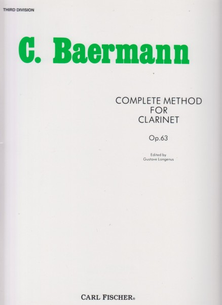 Image for Complete Method for Clarinet, Op.63 - 3rd Division
