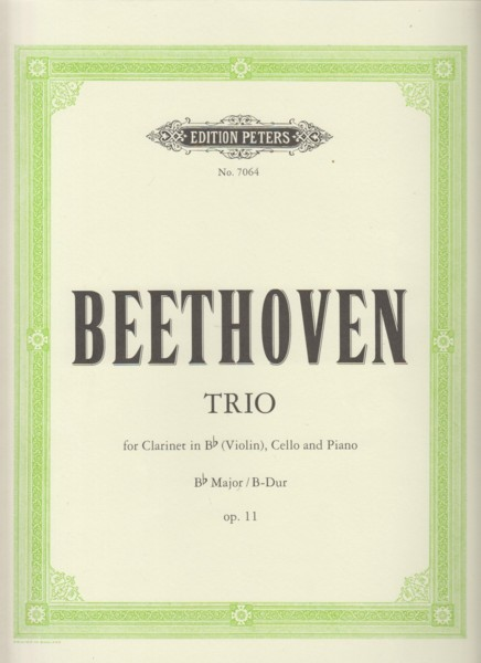 Image for Trio in B flat Major, Op.11 for Clarinet in B flat (Violin), Cello & Piano - Set of parts
