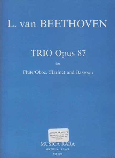 Image for Trio, Op.87 for Flute/Oboe, Clarinet in B flat & Bassoon - Score & Set of Parts