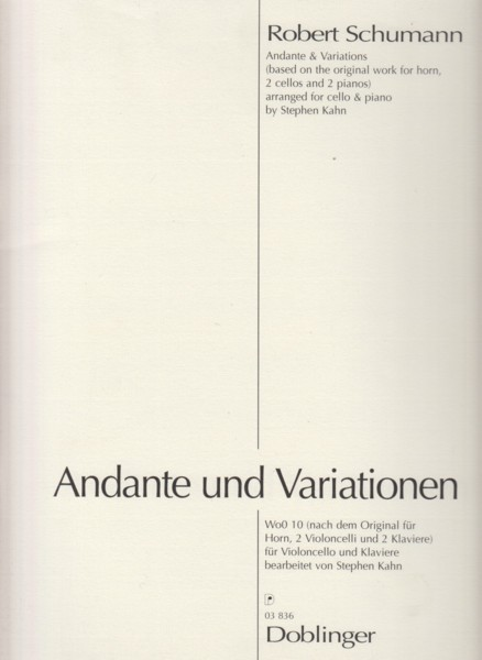 Image for Andante and Variations (based on the original work for Horn, 2 Cellos and 2 Pianos - Cello & Piano