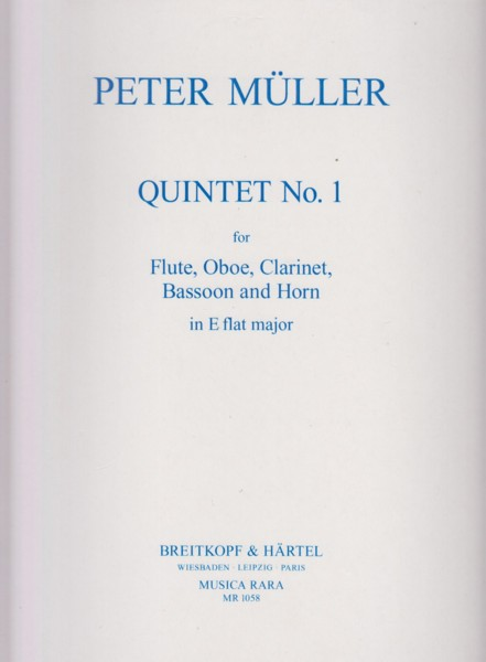 Image for Quintet No.1 in E flat major for Flute, Oboe, Clarinet in B flat, Bassoon and Horn in E flat - Set of Parts