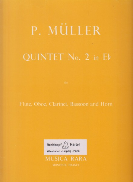 Image for Quintet No.2 in E flat major for Flute, Oboe, Clarinet in B flat, Bassoon and Horn in E flat - Set of Parts