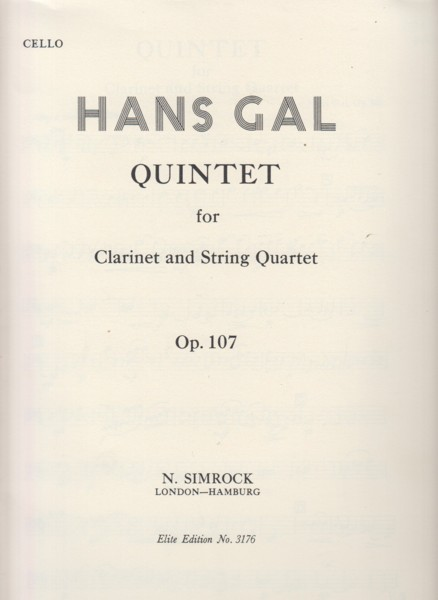 Image for Quintet for Clarinet and String Quartet, Op.107 - Set of Parts