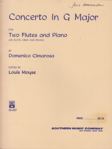 Image for Concerto in G major for Two Flutes (or Flute & Oboe) and Piano
