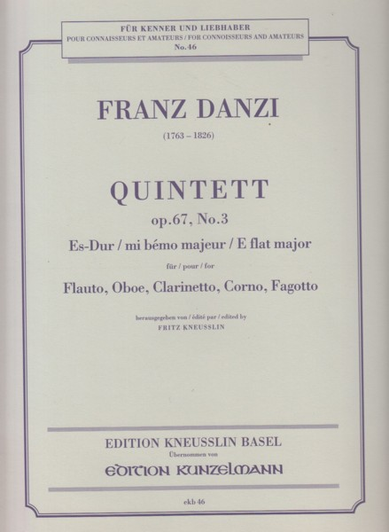 Image for Wind Quintet in E flat major, Op.67 No.3 - Set of Parts