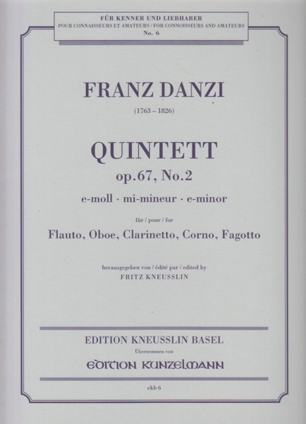 Image for Wind Quintet in e minor, Op.67 No.2 - Set of Parts