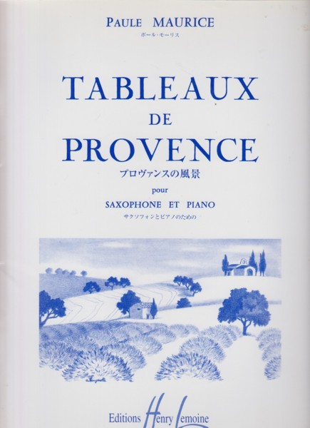 Image for Tableaux de Provence for Alto Saxophone and Piano