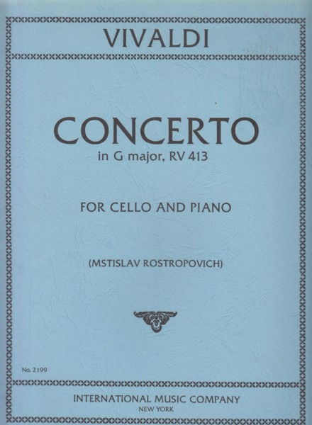Image for Cello Concerto in G major, RV 413 - Cello & Piano