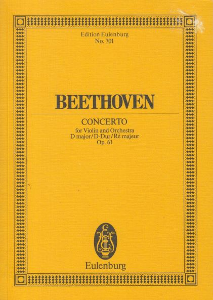Image for Concerto for Violin and Orchestra in D major, Op.61 - Study Score